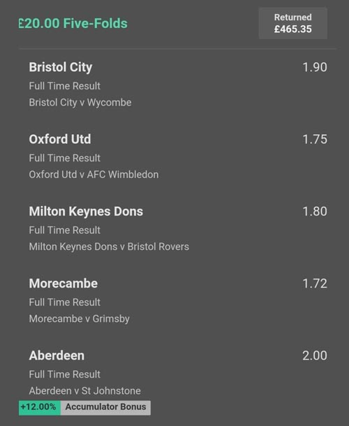 Winning football tips and predictions (Clever Bets bet 6)