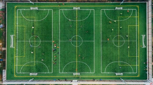 Asian handicap betting - football pitch birdseye view