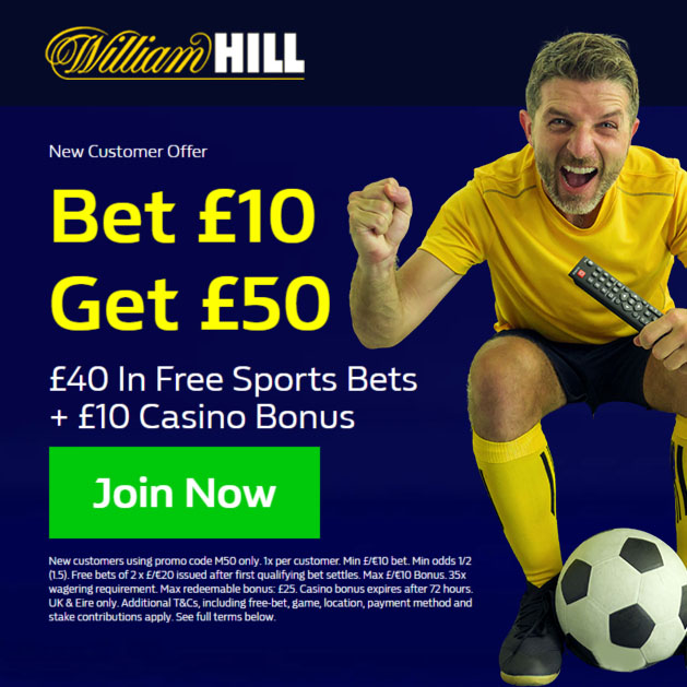M50 William Hill Free Bets Offer