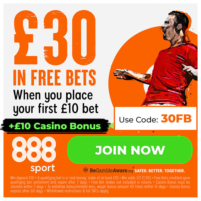 888Sport £30 Free Bets Offer